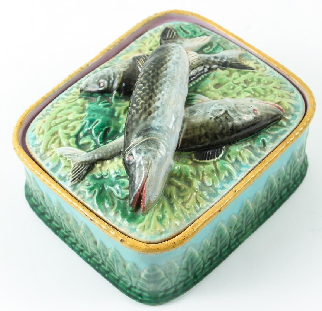 Antique Majolica Sardine Box