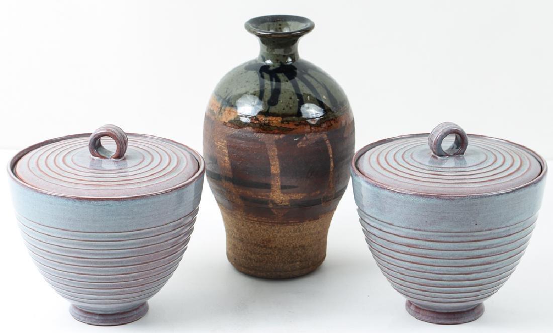 2 Littlefield Lidded Bowls and glazed ceramic vase