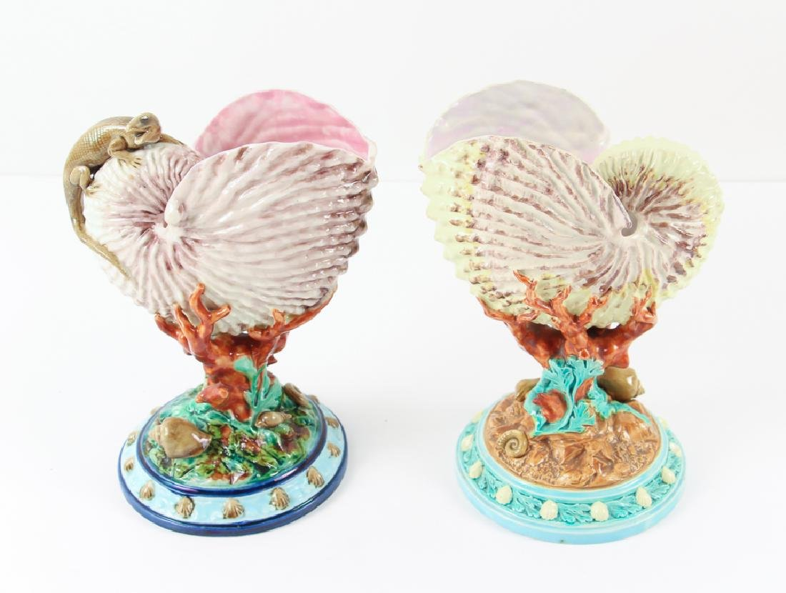 Two Worcester Majolica Nautilus Shell