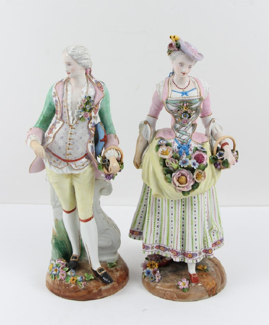 Large Meissen Gentleman and Lady Figures