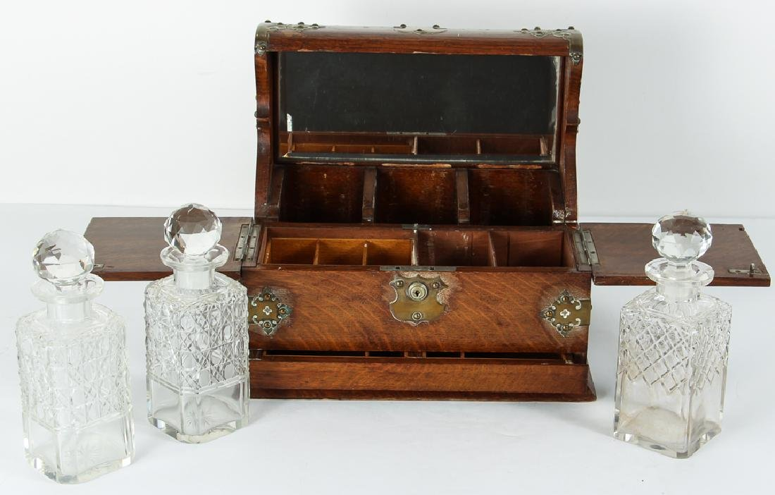 Oak and Brass Three Decanter Tantalus - 3