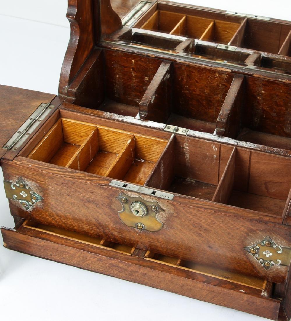 Oak and Brass Three Decanter Tantalus - 4