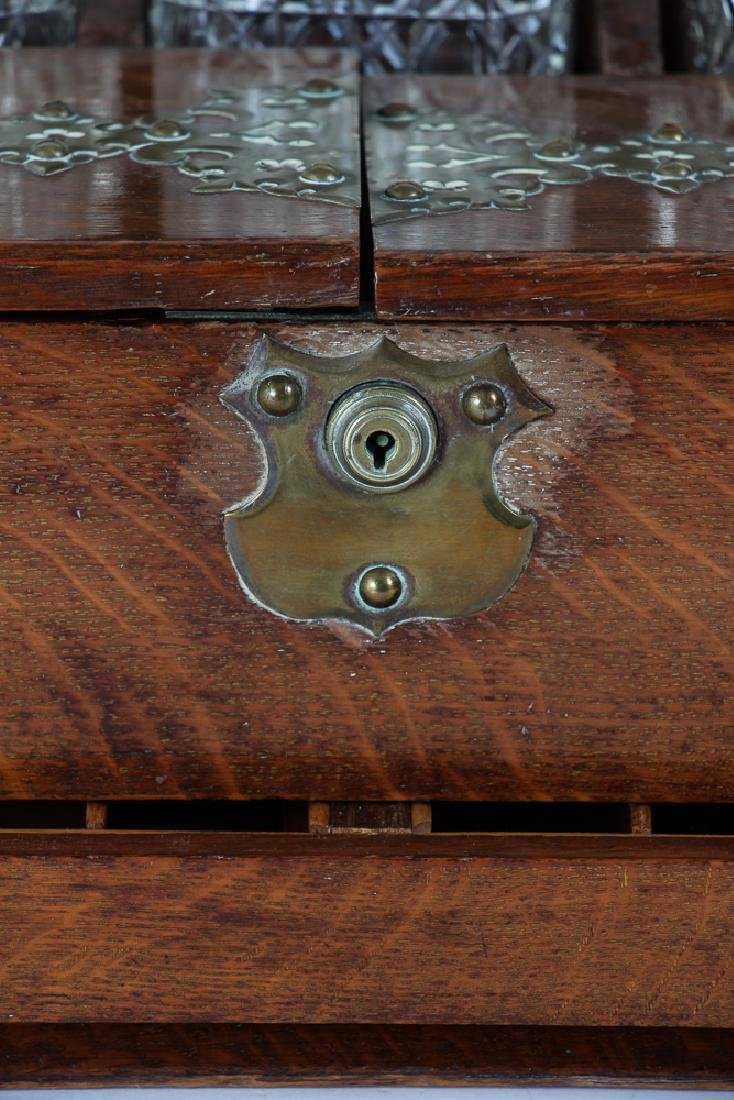 Oak and Brass Three Decanter Tantalus - 7