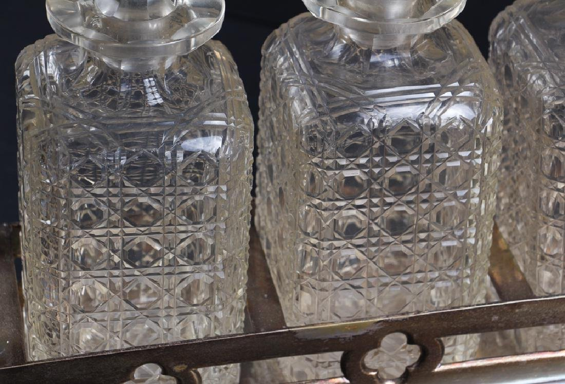 Three Bottle Cut Glass and Silverplate Tantalus - 2