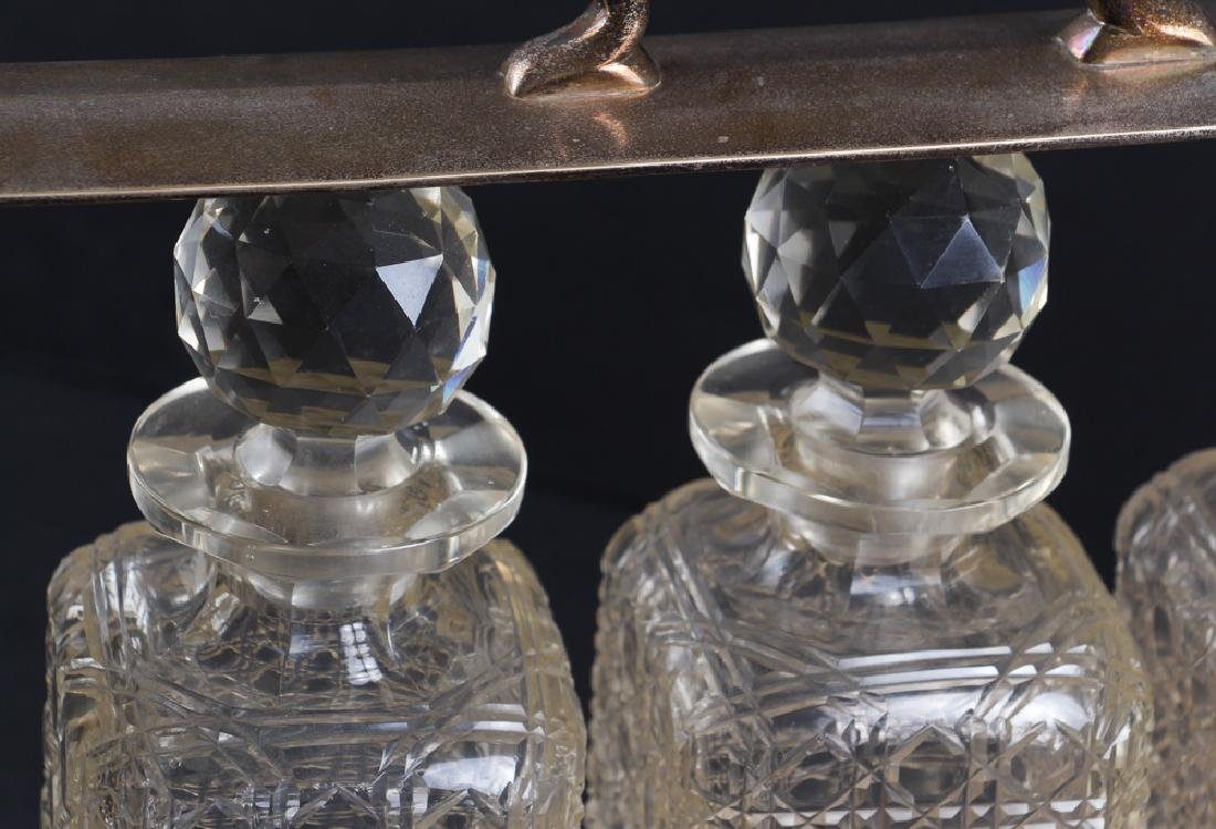 Three Bottle Cut Glass and Silverplate Tantalus - 3