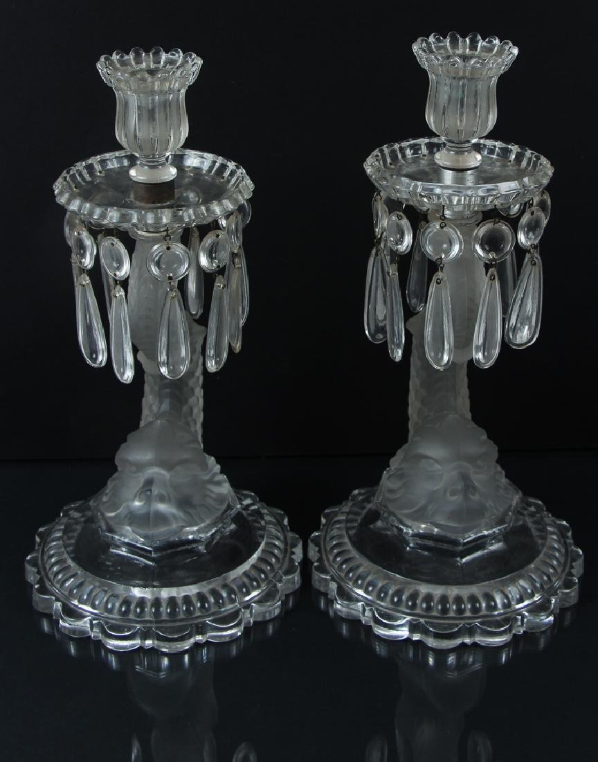 Pair 19th Century Baccarat Dolphin Candlesticks