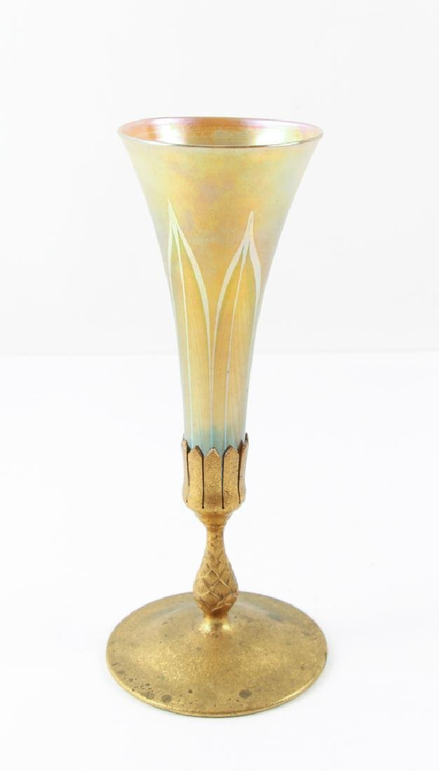 Tiffany Pulled Feather Glass Trumpet Vase with Dore