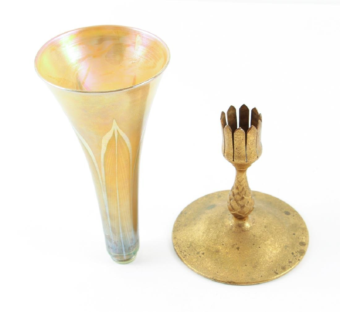 Tiffany Pulled Feather Glass Trumpet Vase with Dore - 7