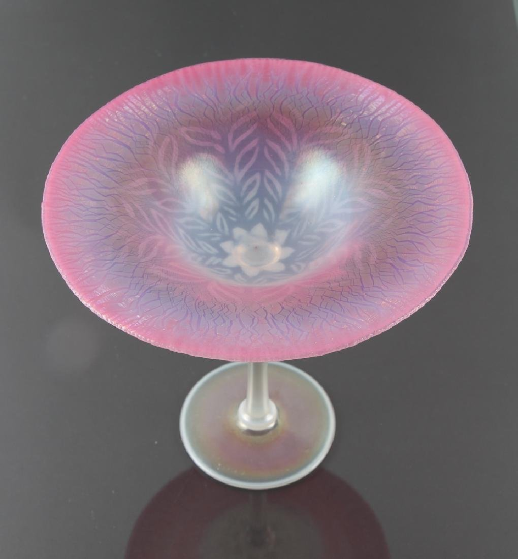 Tiffany Tall Pink Pastel Pattern Glass Compote