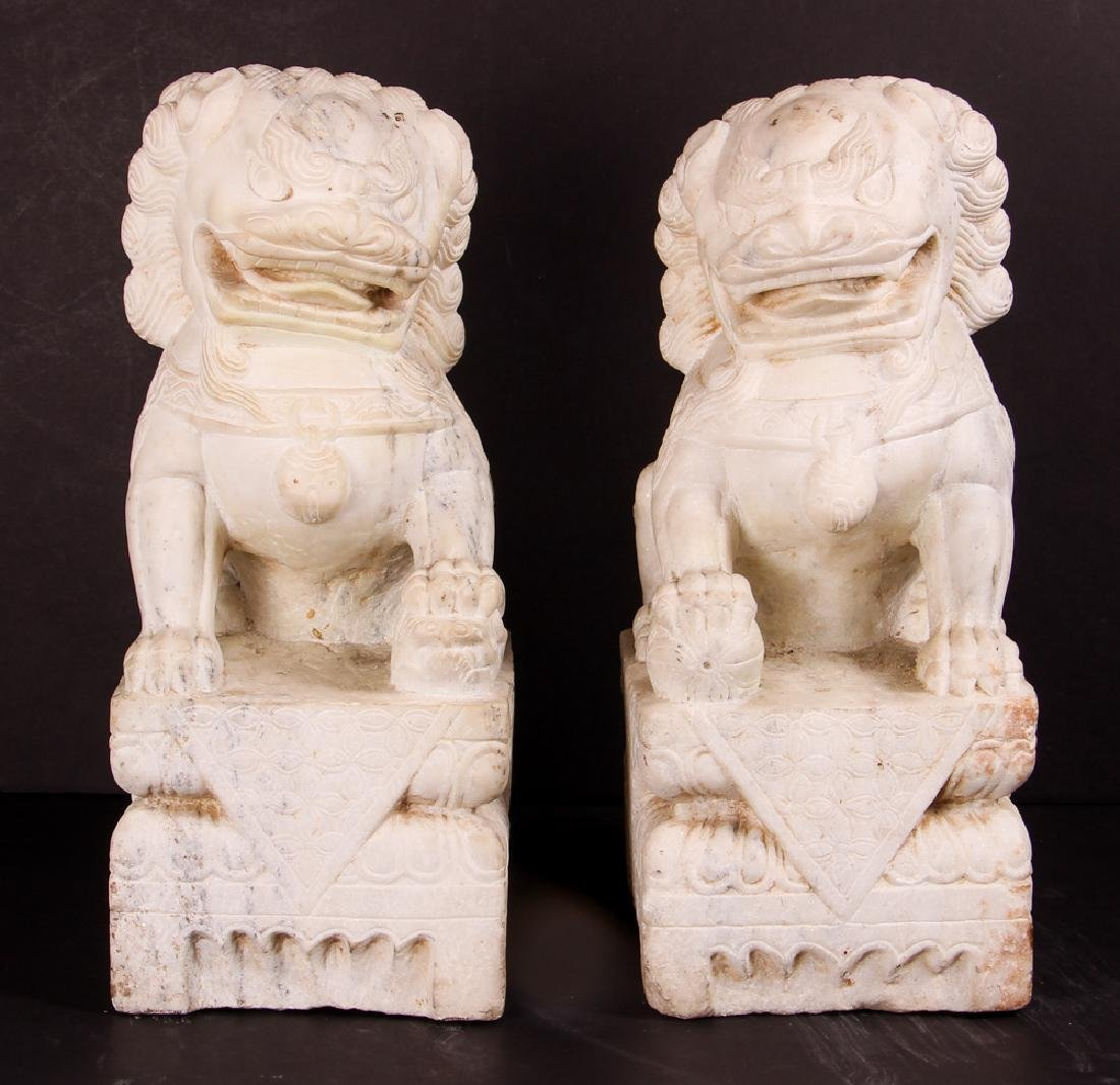 Pair of Carved Marble Chinese  Foo Dogs