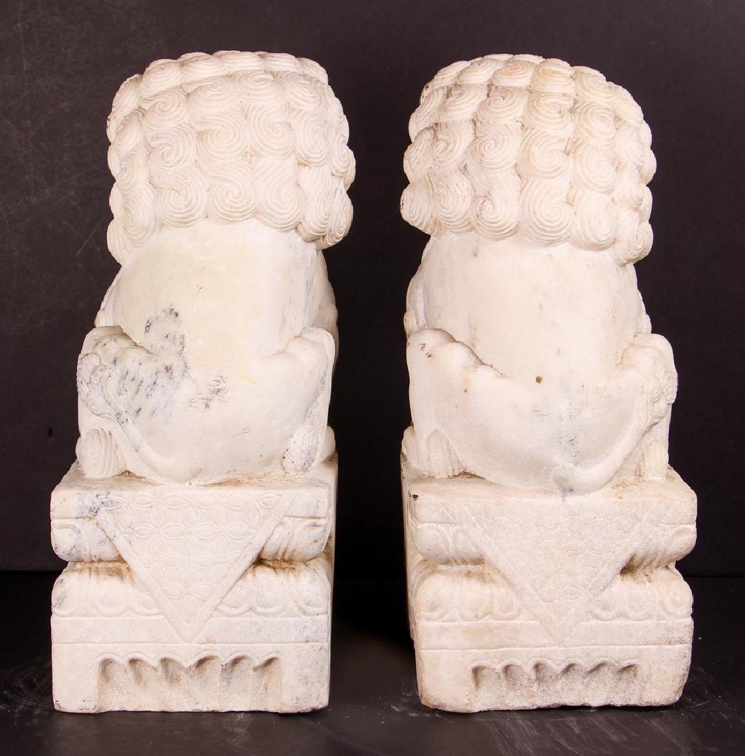 Pair of Carved Marble Chinese  Foo Dogs - 3