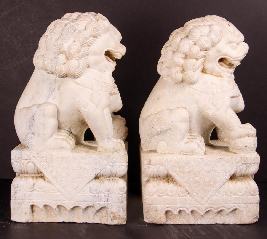 Pair of Carved Marble Chinese  Foo Dogs - 4