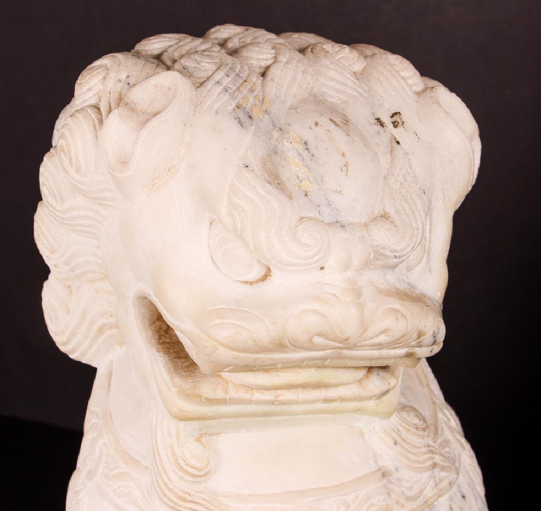 Pair of Carved Marble Chinese  Foo Dogs - 5