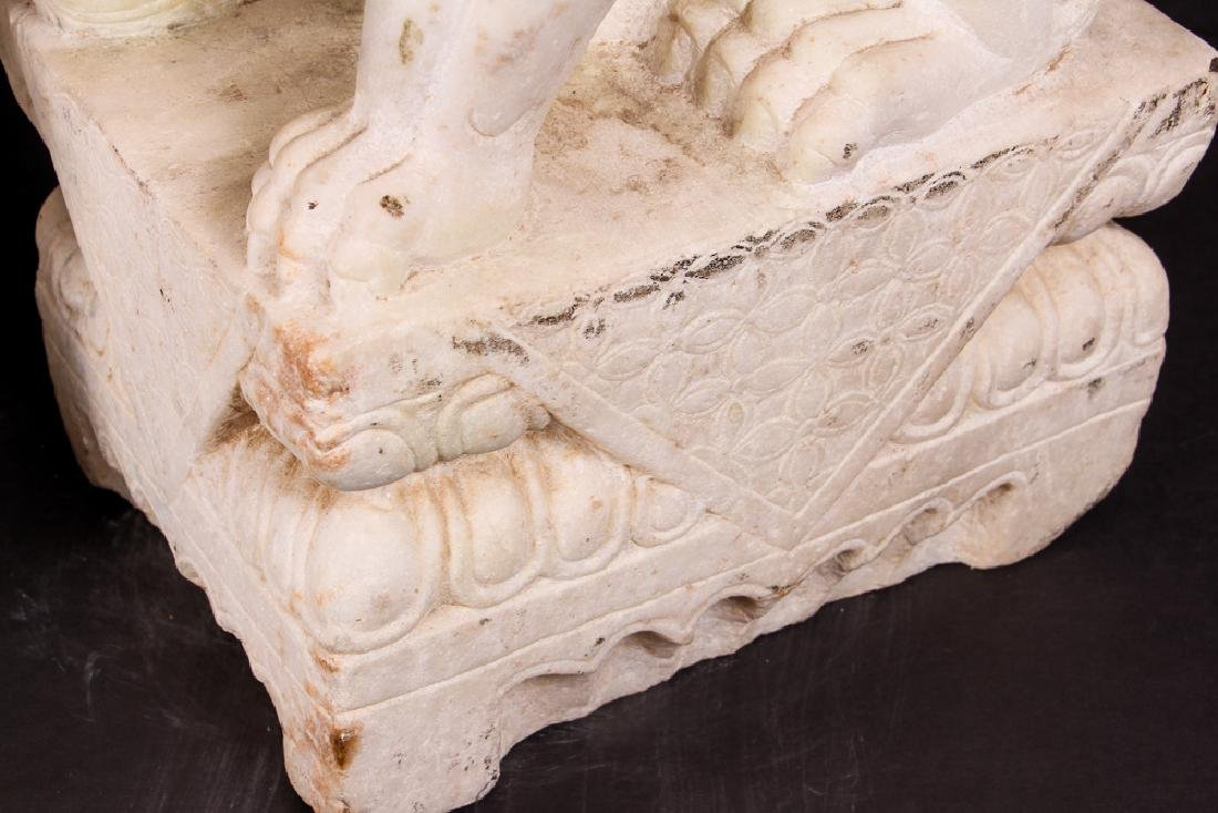 Pair of Carved Marble Chinese  Foo Dogs - 7
