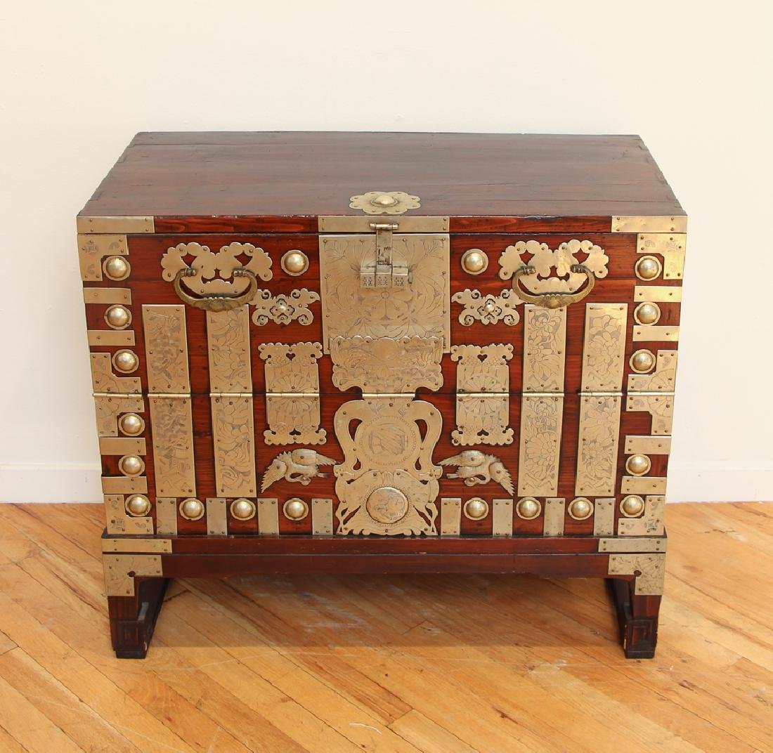 Elaborately Decorated Antique Korean Chest
