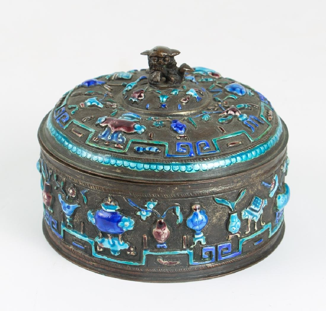 Antique Chinese Enamel Decorated Covered Box