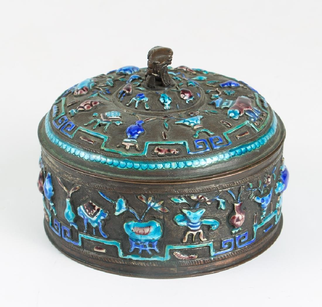 Antique Chinese Enamel Decorated Covered Box - 2