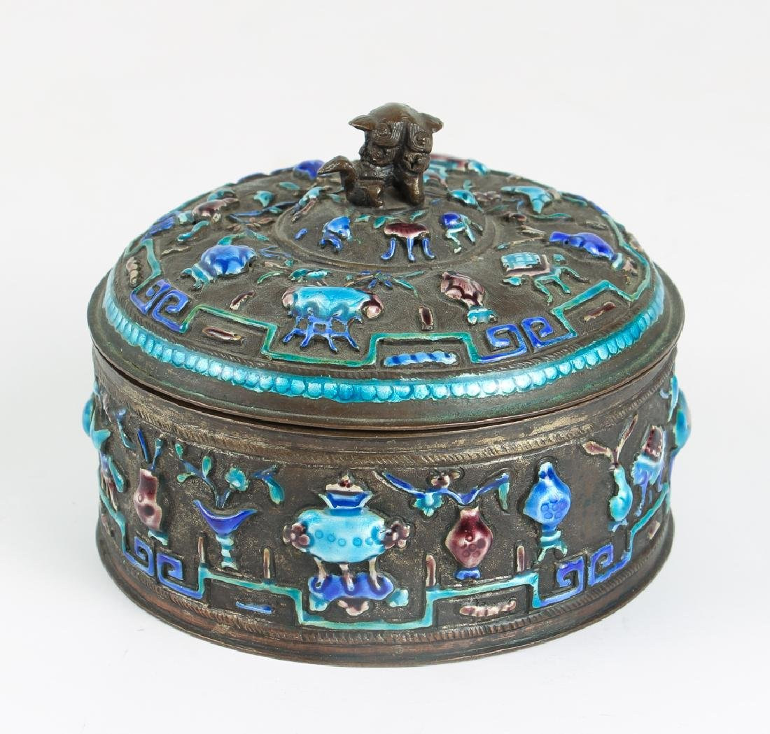 Antique Chinese Enamel Decorated Covered Box - 3