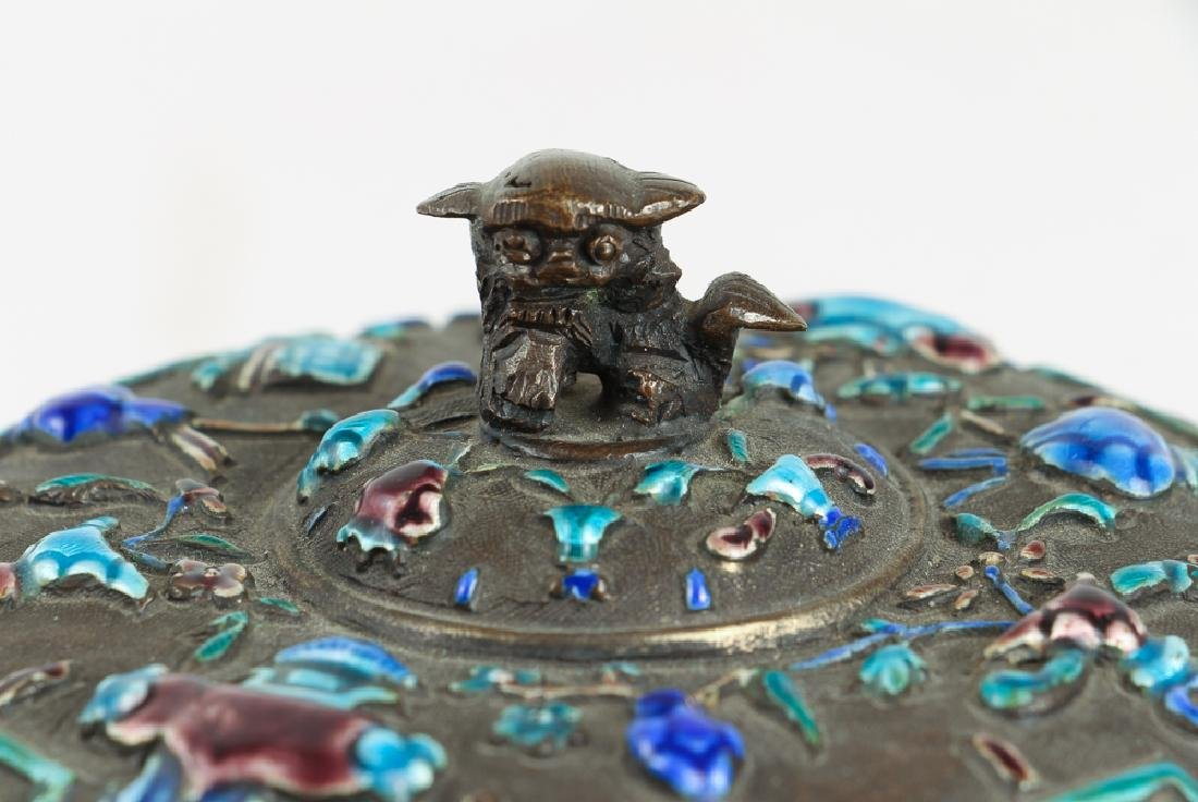 Antique Chinese Enamel Decorated Covered Box - 4