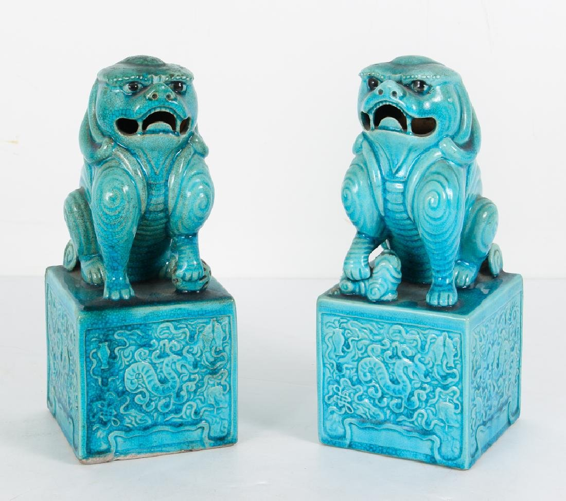 Two Antique Chinese Blue Glaze Foo Dogs