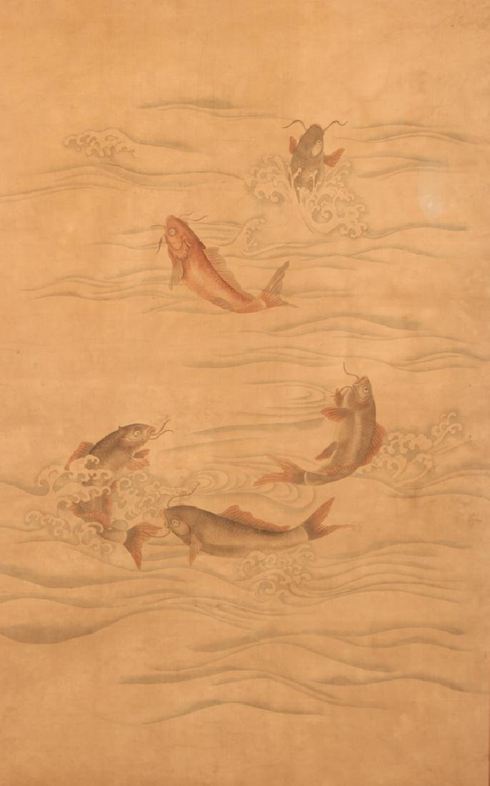 Large Antique Japanese Koi on Silk Watercolor