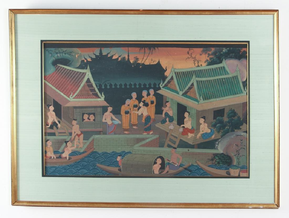 Antique Asian Village Scene Watercolor - 2