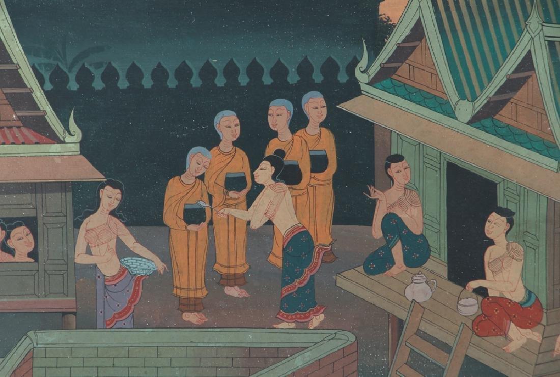 Antique Asian Village Scene Watercolor - 3