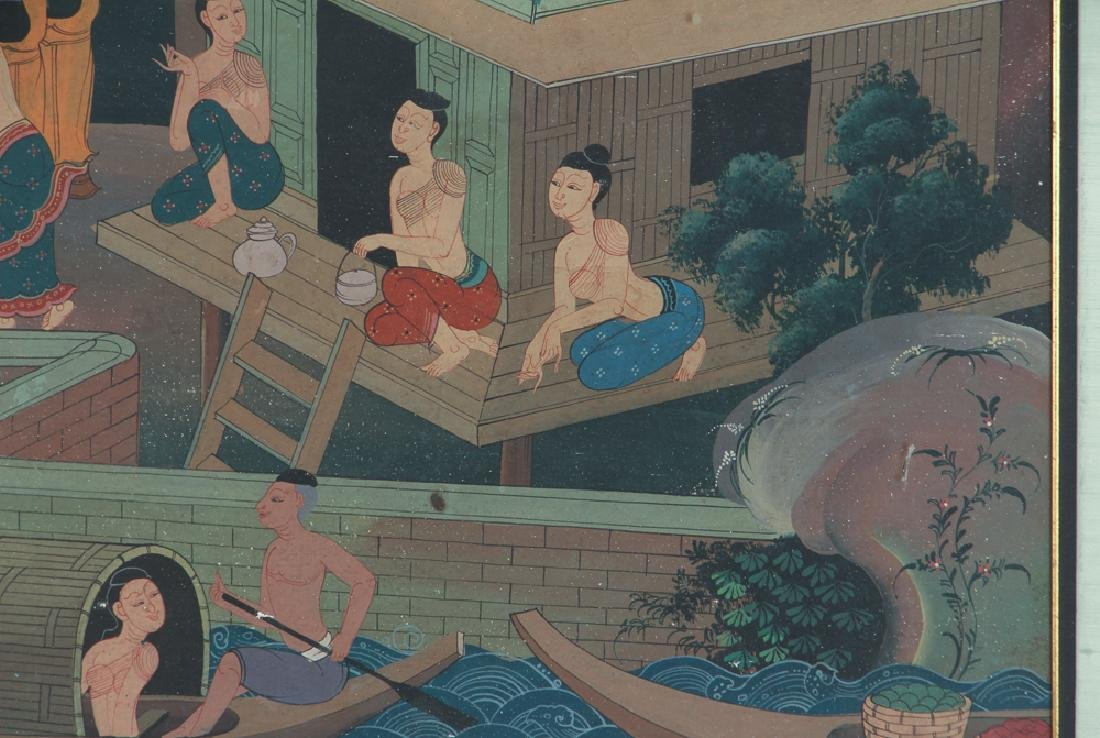 Antique Asian Village Scene Watercolor - 4