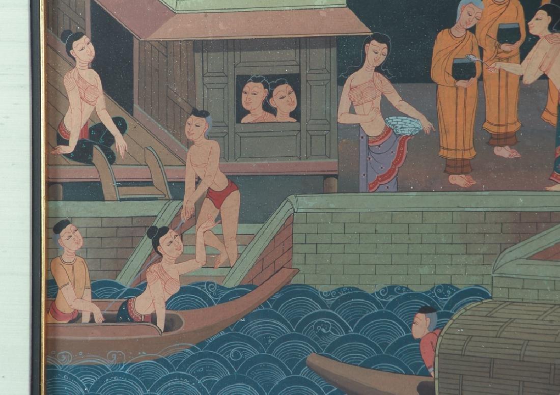 Antique Asian Village Scene Watercolor - 5