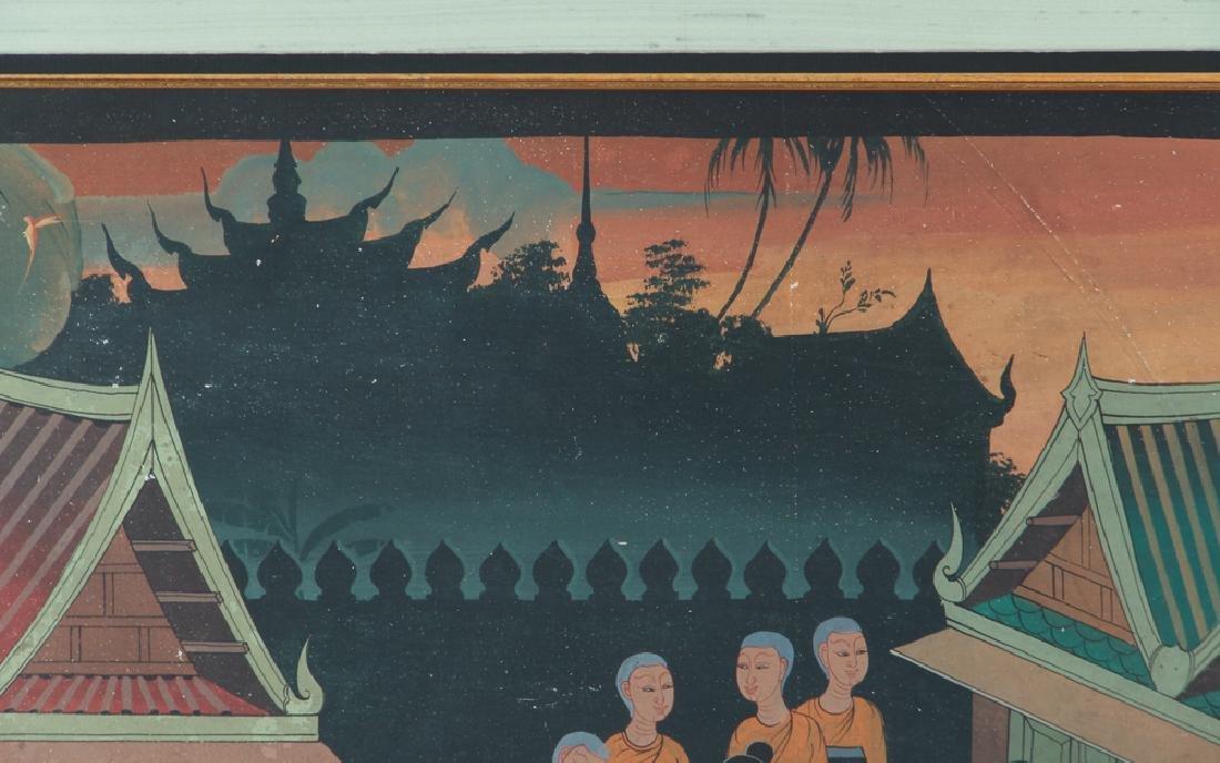 Antique Asian Village Scene Watercolor - 6