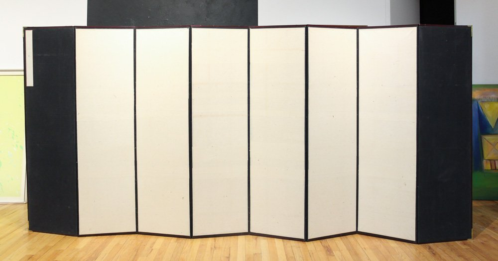 Japanese Watercolor Folding Screen Room Divider - 10