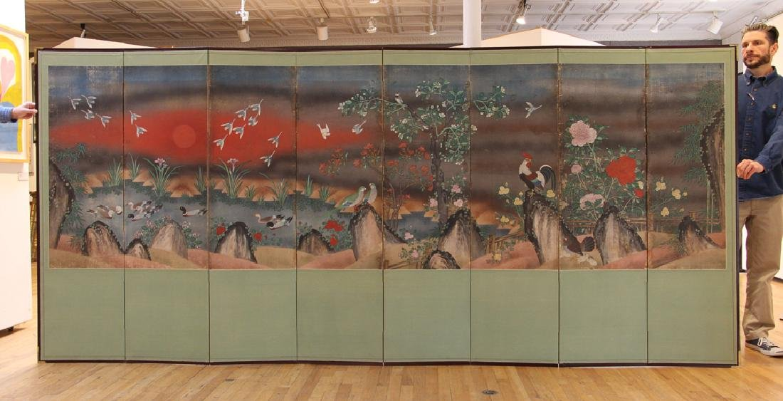 Japanese Watercolor Folding Screen Room Divider