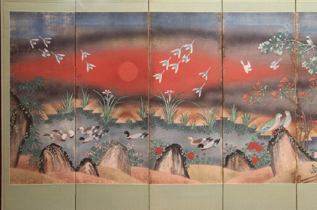 Japanese Watercolor Folding Screen Room Divider - 2