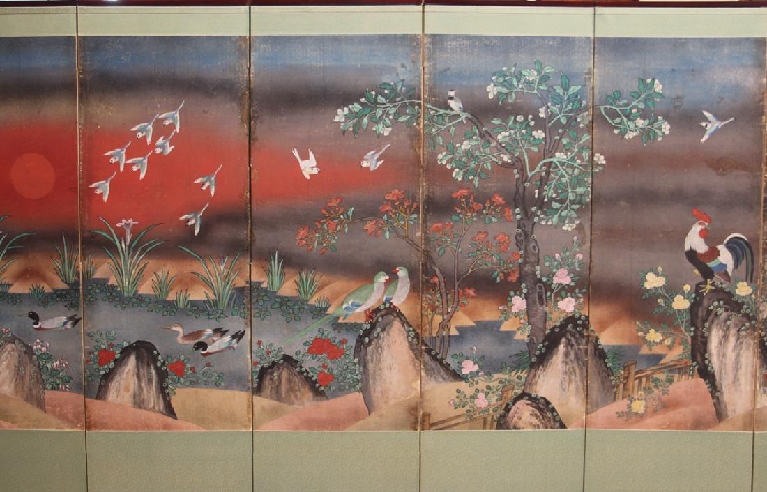 Japanese Watercolor Folding Screen Room Divider - 3