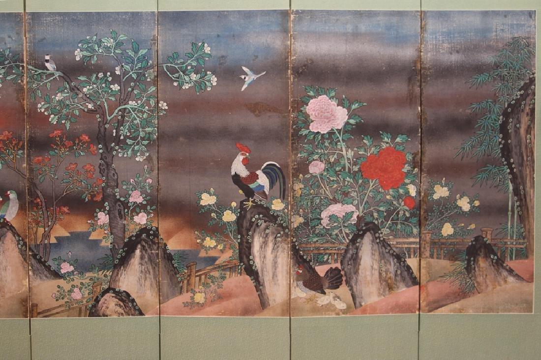 Japanese Watercolor Folding Screen Room Divider - 4