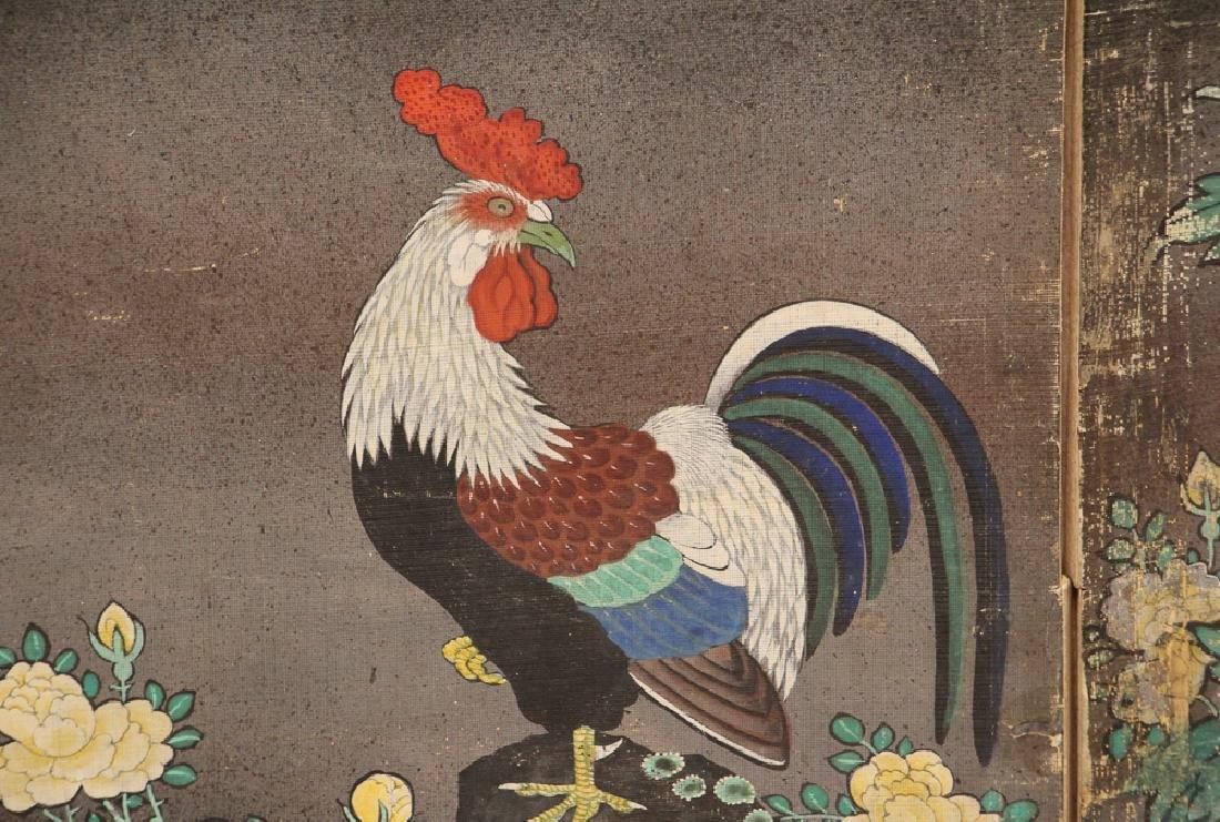 Japanese Watercolor Folding Screen Room Divider - 5