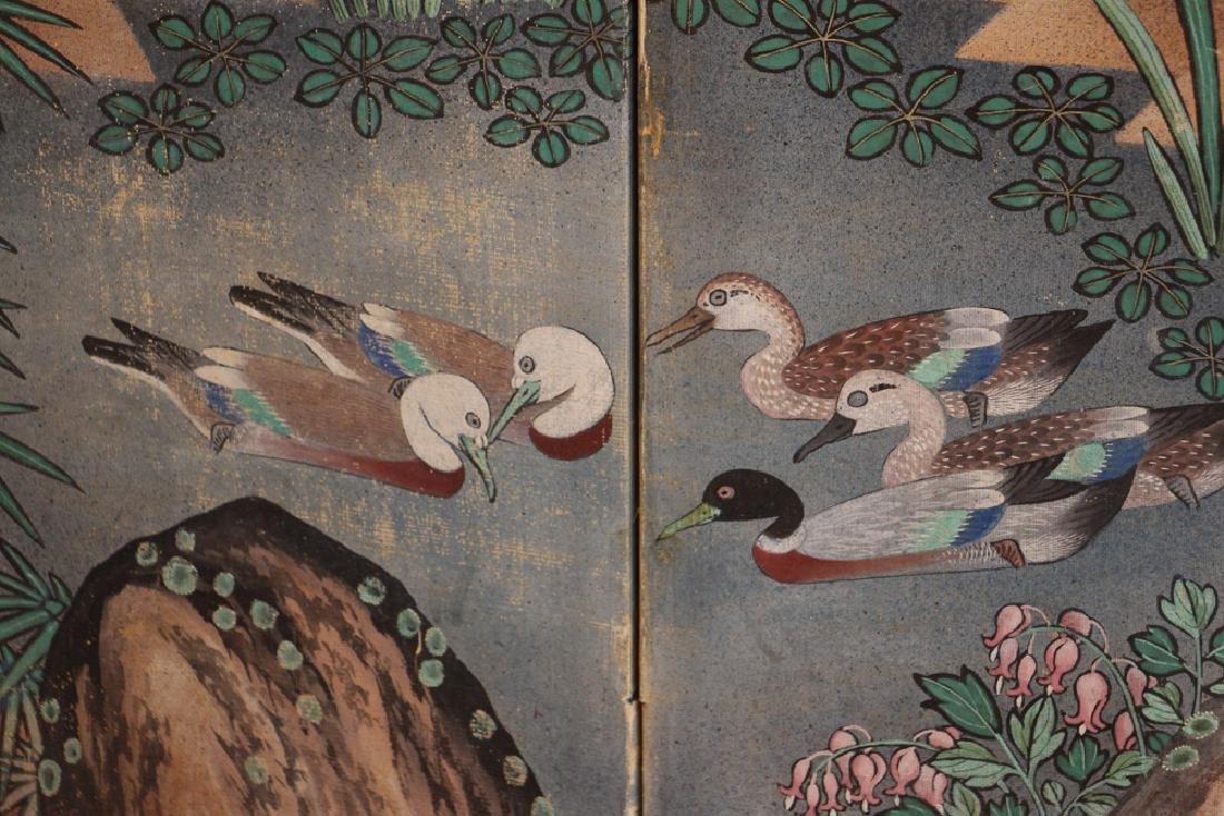Japanese Watercolor Folding Screen Room Divider - 7