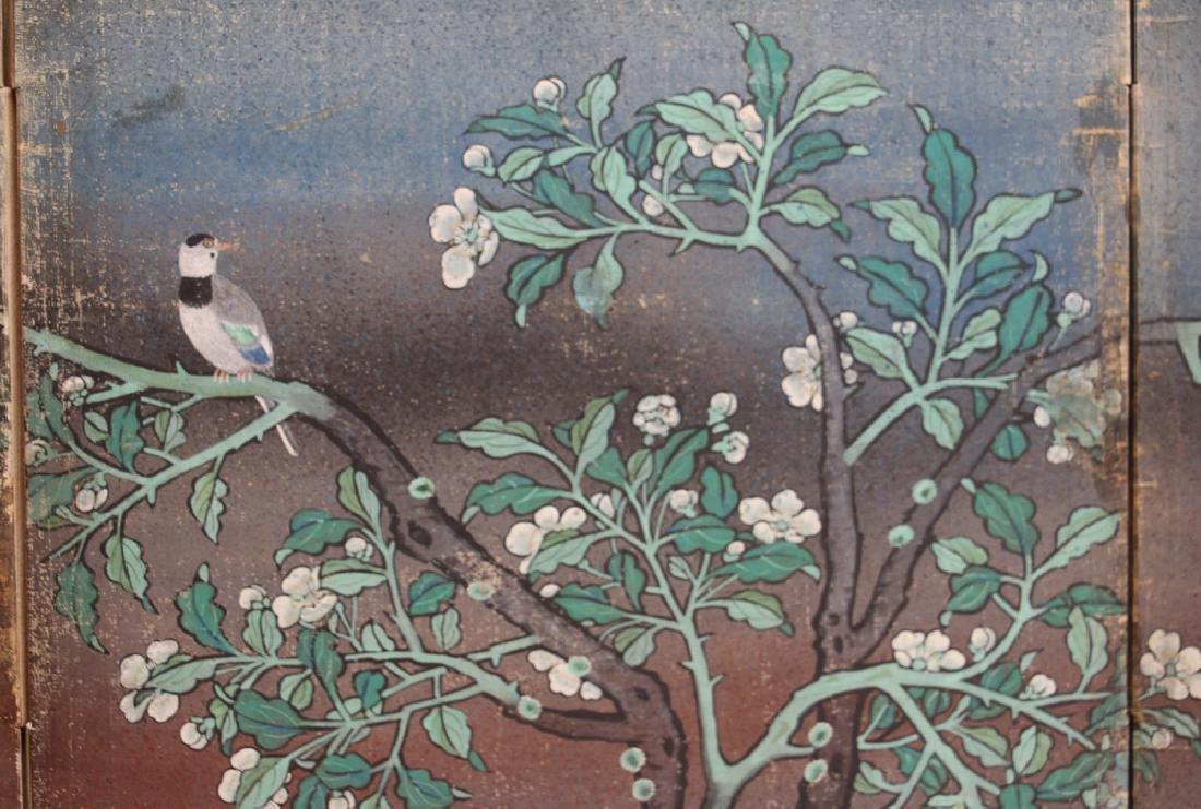 Japanese Watercolor Folding Screen Room Divider - 9