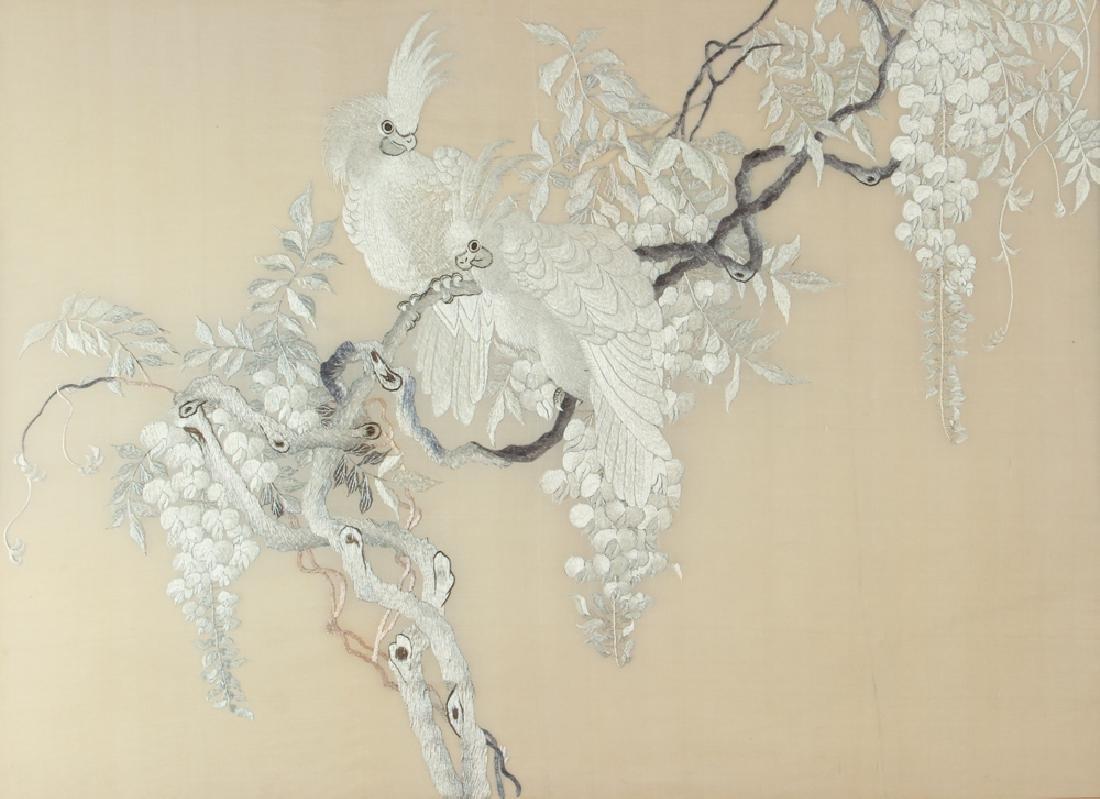 Antique Chinese Silk Needlework Showing Cockatoos