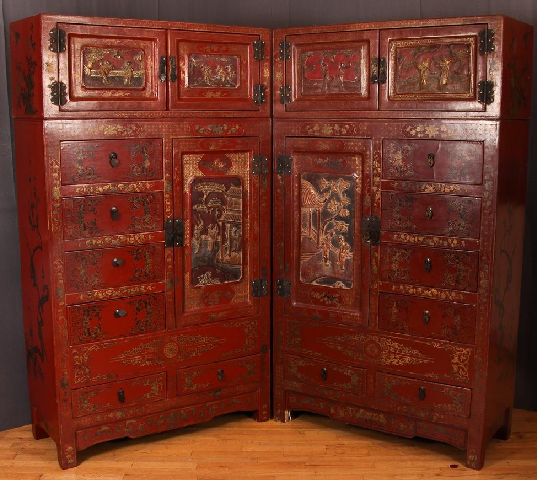 Pair Antique Chinese Two Piece Lacquer Cabinets