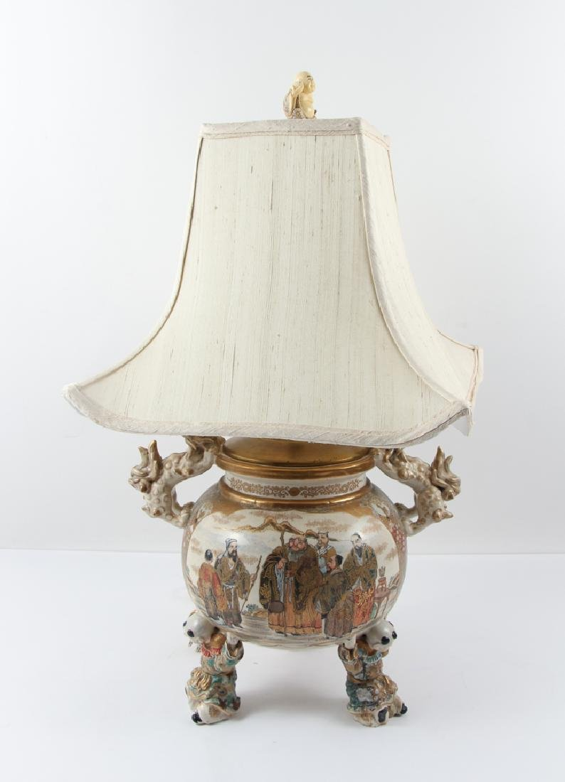 Large Japanese Satsuma Vase Mounted as Lamp