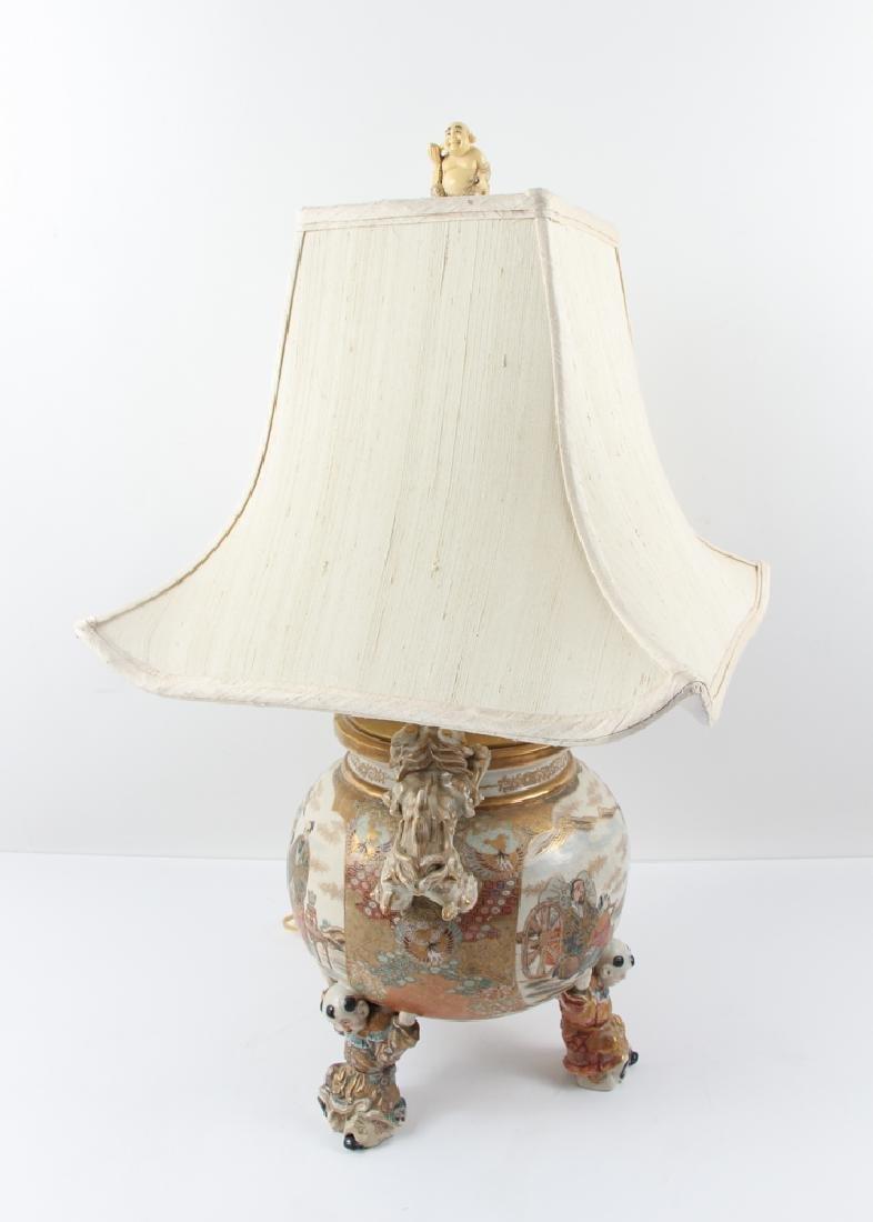 Large Japanese Satsuma Vase Mounted as Lamp - 2