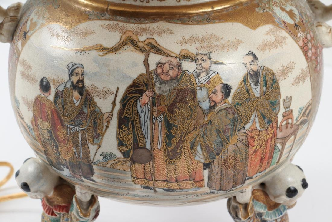 Large Japanese Satsuma Vase Mounted as Lamp - 4