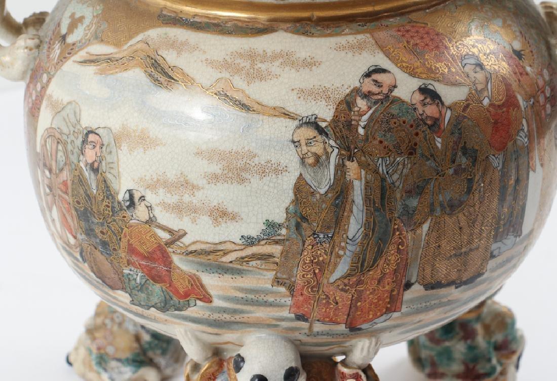 Large Japanese Satsuma Vase Mounted as Lamp - 8