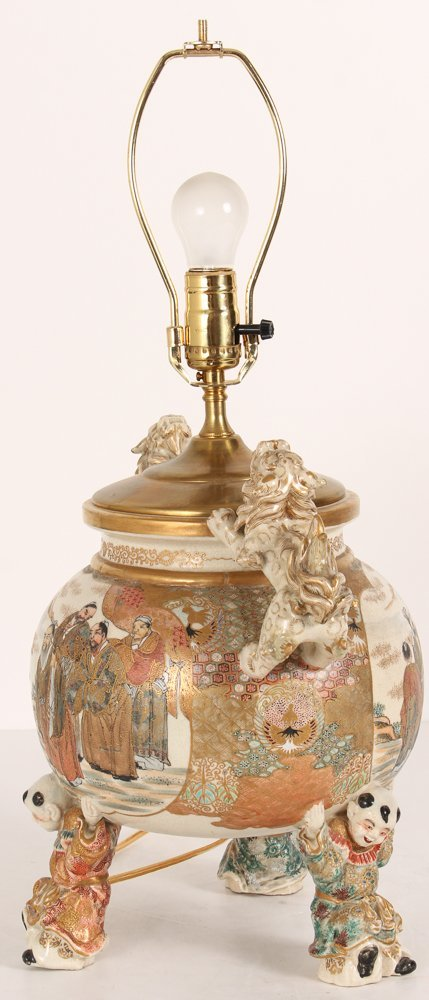 Large Japanese Satsuma Vase Mounted as Lamp - 9