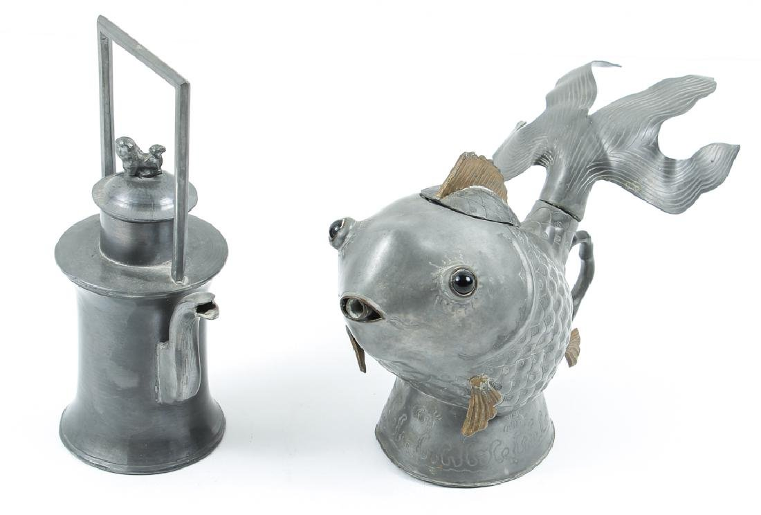 Two Antique Chinese Pewter Teapots