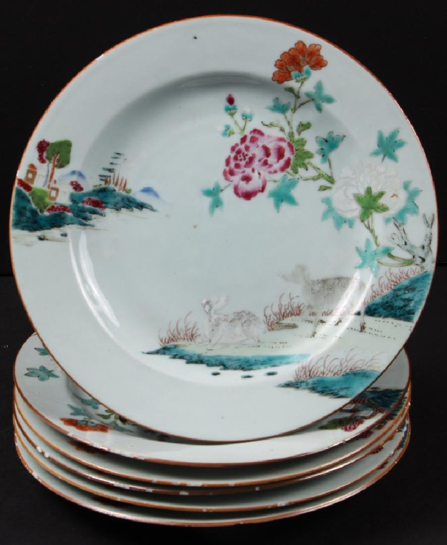 Six Antique Chinese Famille Rose Plates