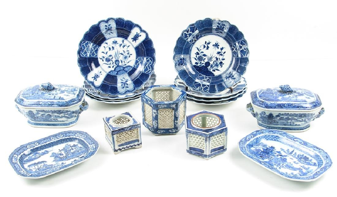 Large Group of Blue and White Canton Ware