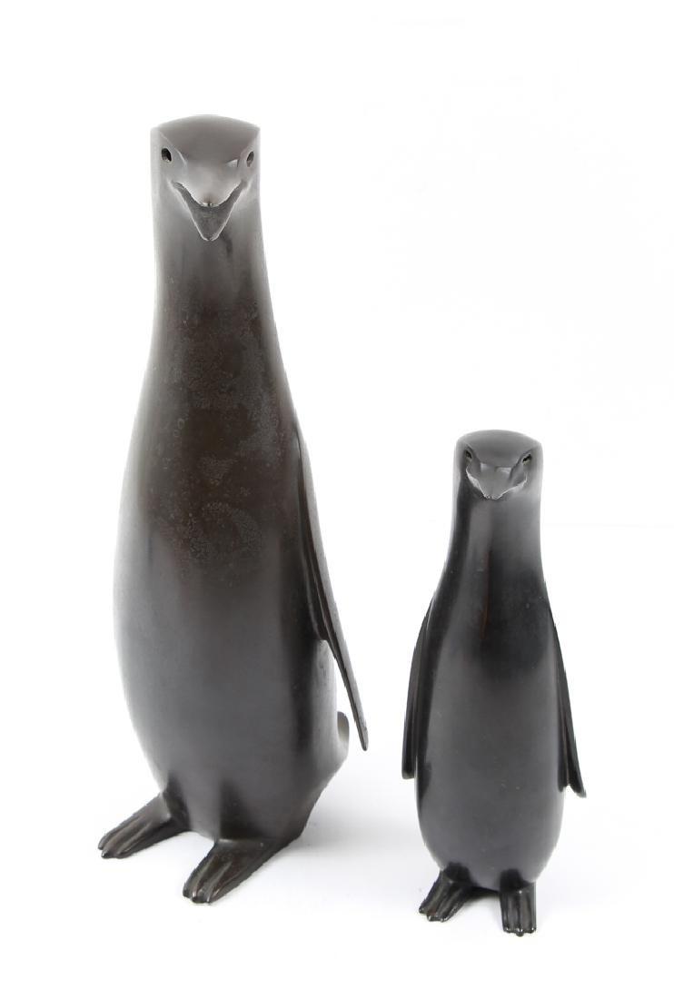 Japanese bronze Penguin Mom and Child