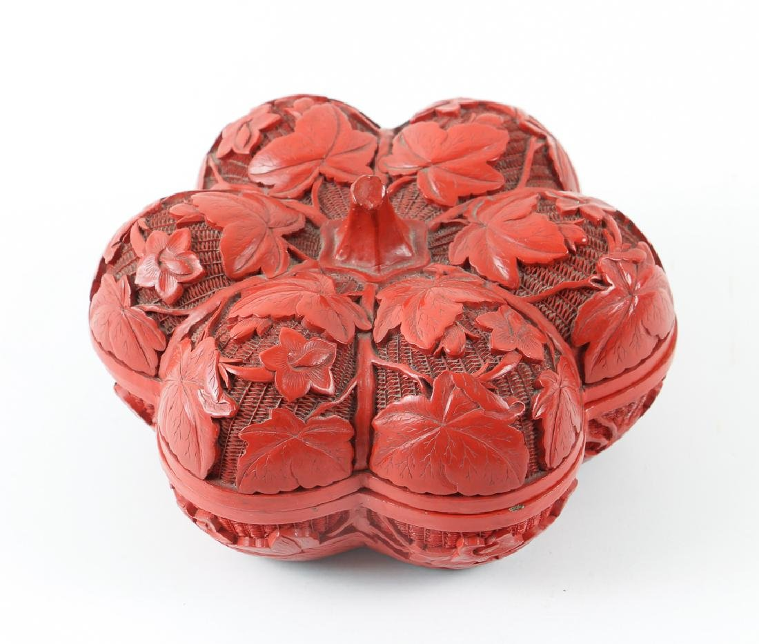 Melon Shaped Chinese Cinnabar Lidded Box
